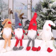 Christmas Plush Forest Man Doll Long Legs Sitting Posture Tree Pendant Window Decoration Ornaments Kids Gift