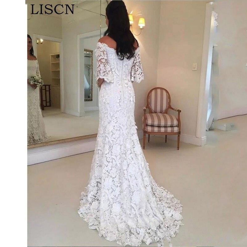 Wedding Dress Off The Shoulder Mother Of Bride Dreess Lace Mermaid Formal Gowns White Ivory Vestidos De Novia 2019