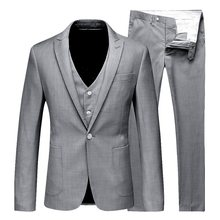 Vogue Men 3 Pieces Solid Classic Blazers Suit Sets Men Business Blazer+Vest +Pants Suits Sets Spring Autumn Slim Wedding Sets(China)