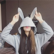 Autumn Winter Plush Sweatshirt Women 2019 Rabbit Ears Woman Easy Clothes Leisure Time Loose Tops For
