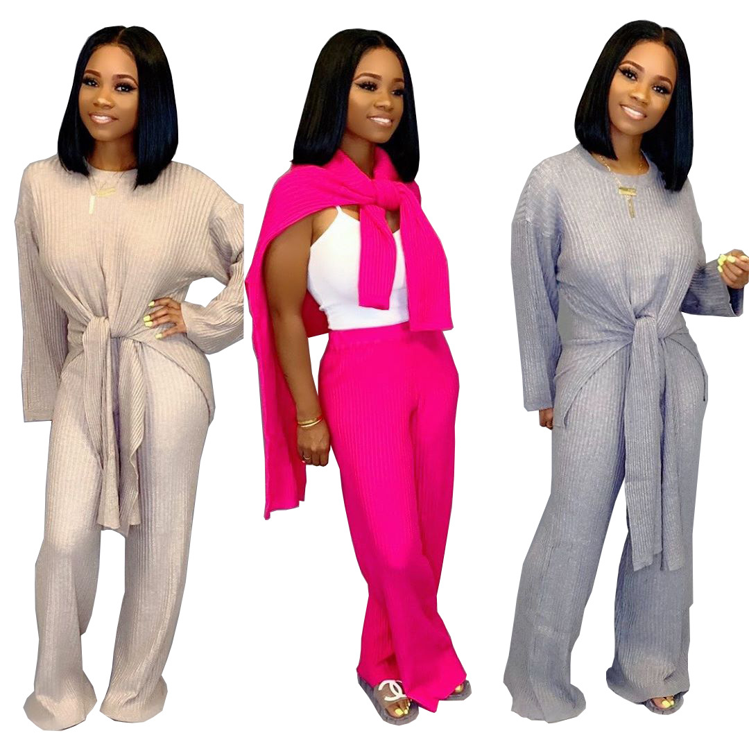 Solid Color Women Set Long Sleeve Knitted Sweater Knotted Straight Leg Pants Suit Two Piece Set Stylish Tracksuit Outfit