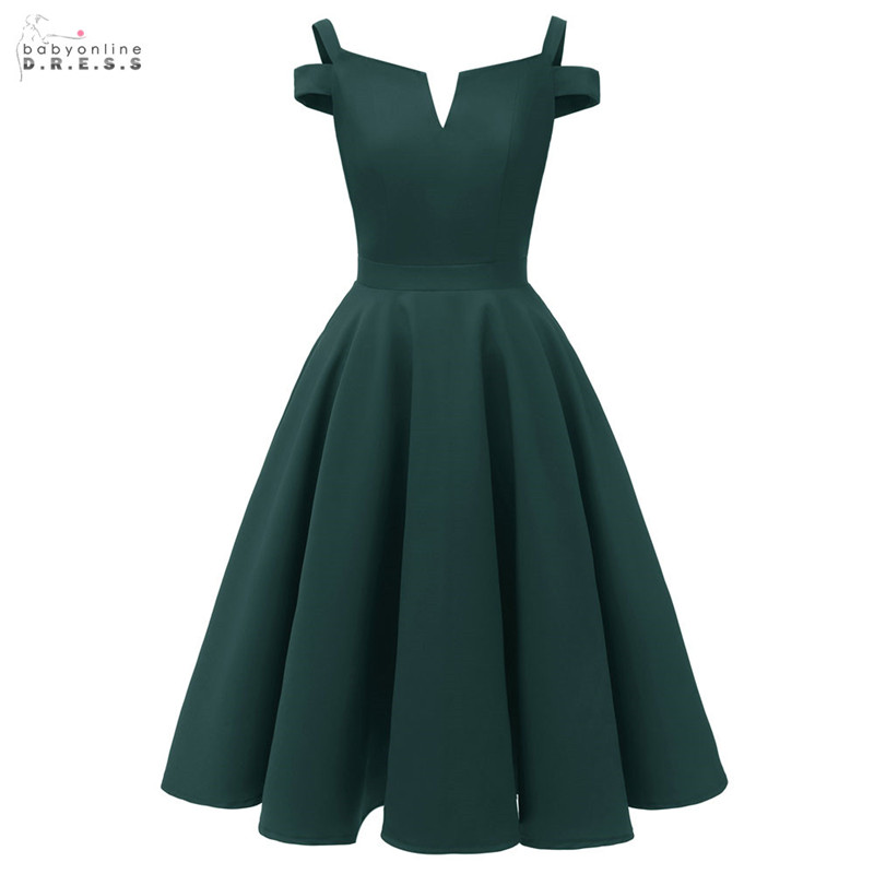 2019 Elegant Short   Cocktail     Dresses   V-neck Dark Green New Arrival Draped A-line Party   Dresses   Vestidos Coctel Robe de   Cocktail