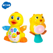 HOLA 808&8102 Dancing Walking Yellow Duck Baby Toy And Frog Music Kids Bath Toy Bathtub Soap Automatic Bubble Maker(China)