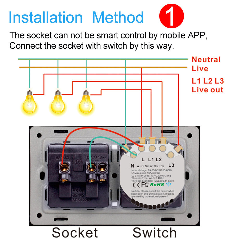 Wifi Wall Socket Us Standard With Smart Light Switch 1 2 3 Gang 110v 120v Touch Switch Work With Alexa Google Home Ifttt Ewelink Electrical Sockets Aliexpress