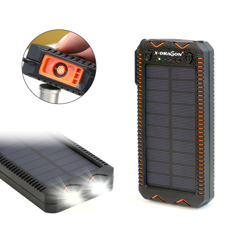 Waterproof Solar Power Bank with Cigarette Lighter and Dual USB Output Ports for Smartphone Charging 4