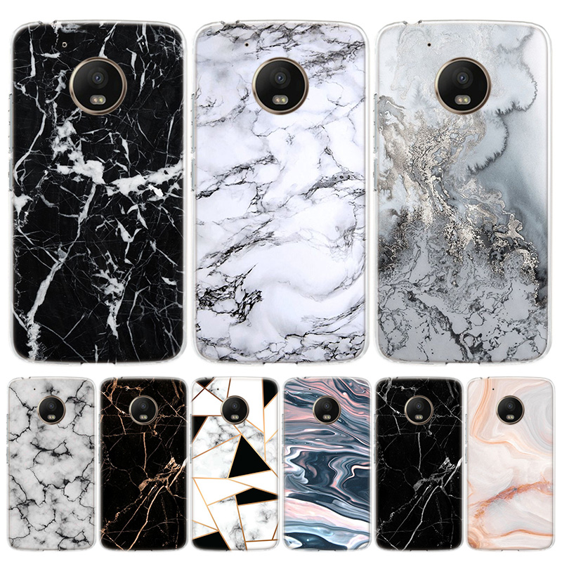 White Marble Leaves Cover Phone Case For Motorola Moto G8 G7 G6 G5S G5 E6 E5 E4 Plus G4 Play EU One Action X4 Pattern Coque