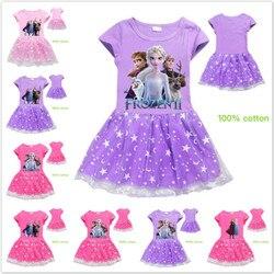 Meninas vestido de princesa crianças adolescentes dos desenhos animados congelados anna elsa olaf imprimir crianças vestidos meninas tutu vestidos verão traje de natal