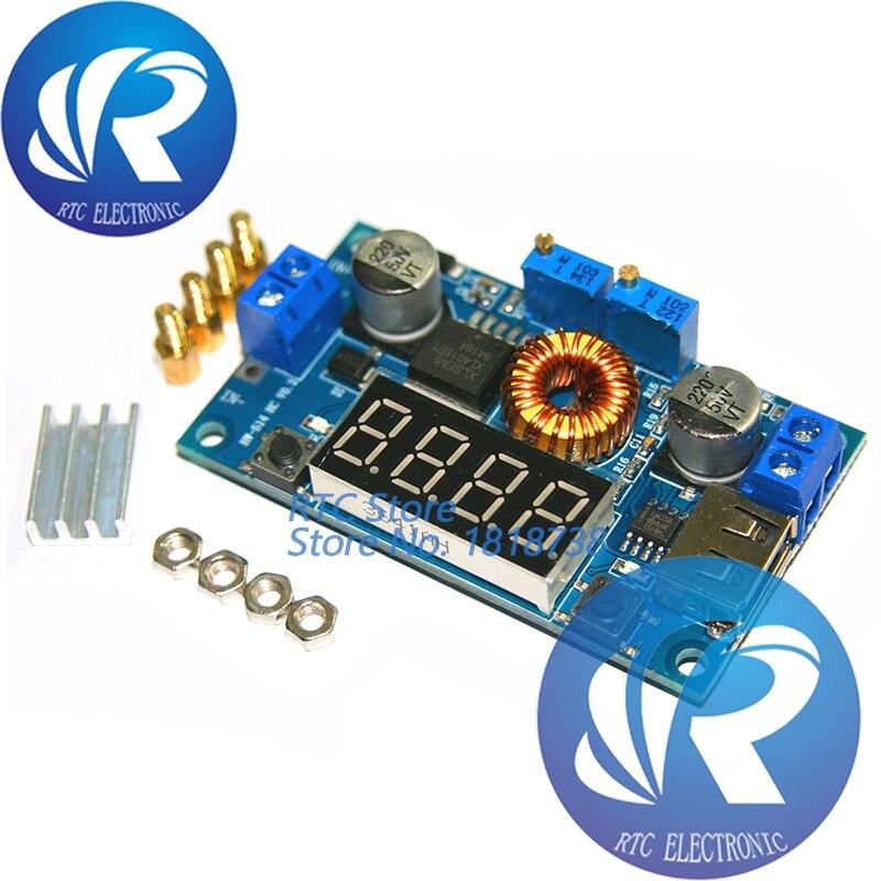 5A CC CV LED Drive Lithium charger Power Step-down Module W// USB Voltmeter