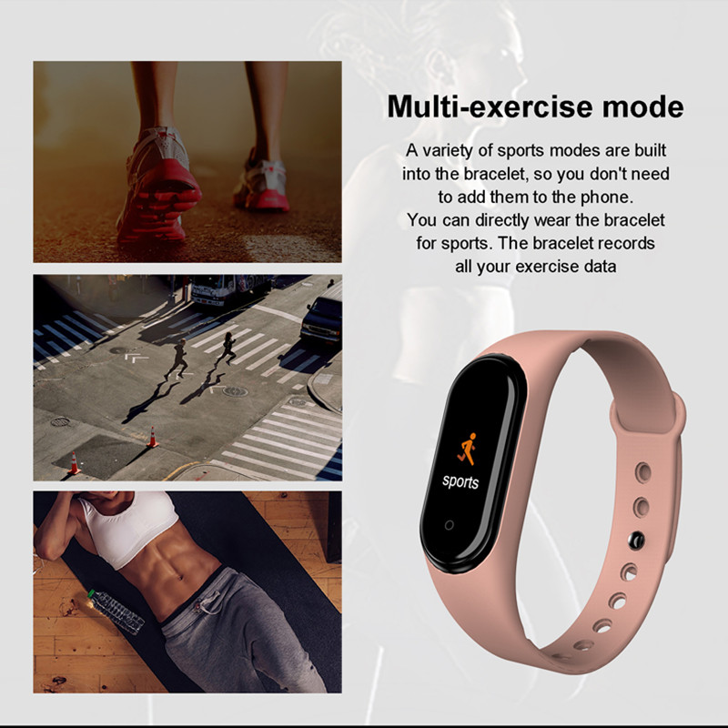 H3478e73beeb24fa8b36c82f93dd1f55fS M4 Smart Band Wristbands Fitness Tracker Health Heart Rate Blood Pressure Bluetooth Sports Bracelet smartband