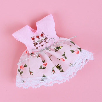 1/8 BJD Dolls Clothes Set 16-18 CM BJD Dolls Lace Flower Dress Sweater 6 Inch BJD Dolls Tops With Skirt For Girls Dolls Clothes - Pink HQ