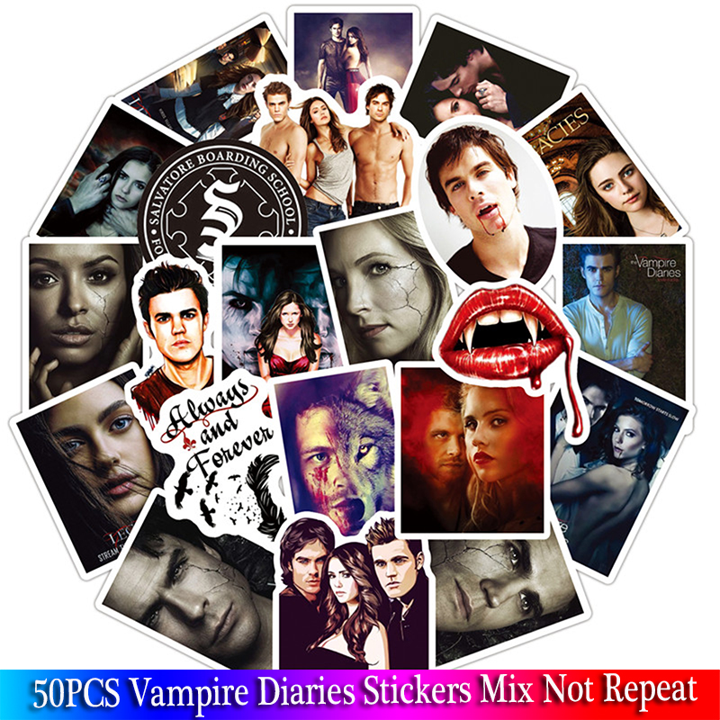 50Pcs/lot The Vampire Diaries Fans Gift Decoration Sticker Sets For DIY Scrapbooking Album Luggage Laptop Phone Decal Sticker