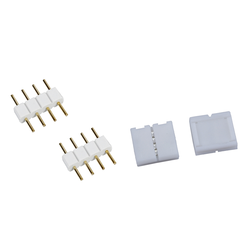 New 10Pcs 4 Pin Connector Adapter For RGB LED SMD Strip Stripe Waterproof & 5Pcs Male To Male 4 Pin RGB Wire Connectors White Fo