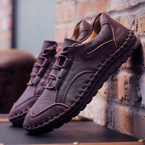 Image 4 - ชายรองเท้าหนังผู้ชายหรูหรายี่ห้อ Design Handmade Loafers ผู้ชายรองเท้าหนังแท้รองเท้าหนังแท้คัทชูรองเท้าผ้าใบ Oxford