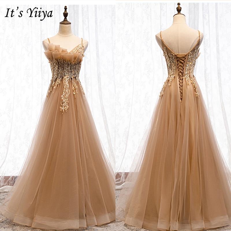 It's Yiiya Evening Dress 2019 Plus Size Elegant Spaghetti Strap Formal Dresses Sleeveless Appliques Party Robe de Soiree E988