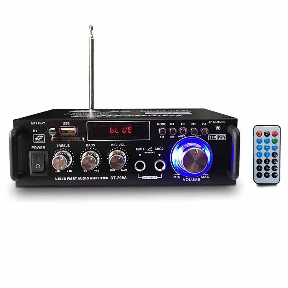12 V/220 V BT-298A 2CH LCD Display Digital HI FI Audio Stereo Power Amplifier Bluetooth FM Radio Mobil Rumah dengan Remote Control