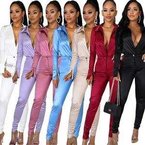2020 women new 2 Piece Set Satin Jumpsuits Rompers Women Two Piece Set Clothing Outfits Trousers Pants