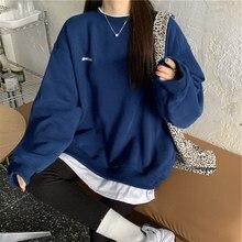 Outono e inverno 2021 nova kpop carta pulôver moda coreano de pelúcia moletom feminino marinho cinza preto hoodie feminino m-xxl