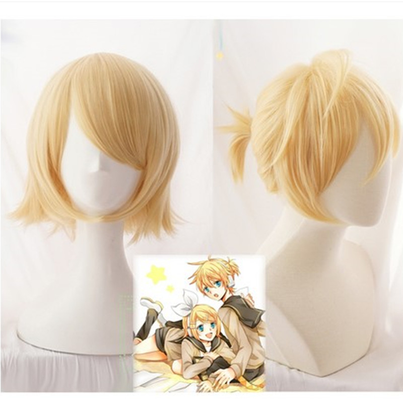 <font><b>Vocaloid</b></font> <font><b>Kagamine</b></font> <font><b>Rin</b></font> / <font><b>Kagamine</b></font> Len Short Blonde Heat Resistant Hair Cosplay Costume Wig + Track + Wig Cap image