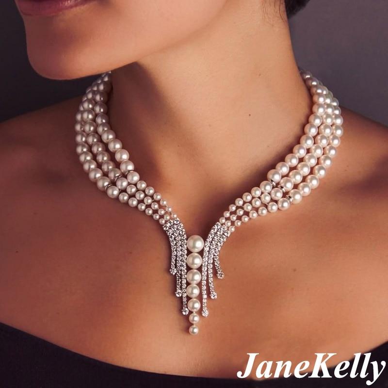 JaneKelly أفضل موضة جديدة 3 طبقة سلاسل اللؤلؤ القلائد مكعب الزركون مايكرو تمهيد وضع المرأة مجوهرات اكسسوارات الحفلات