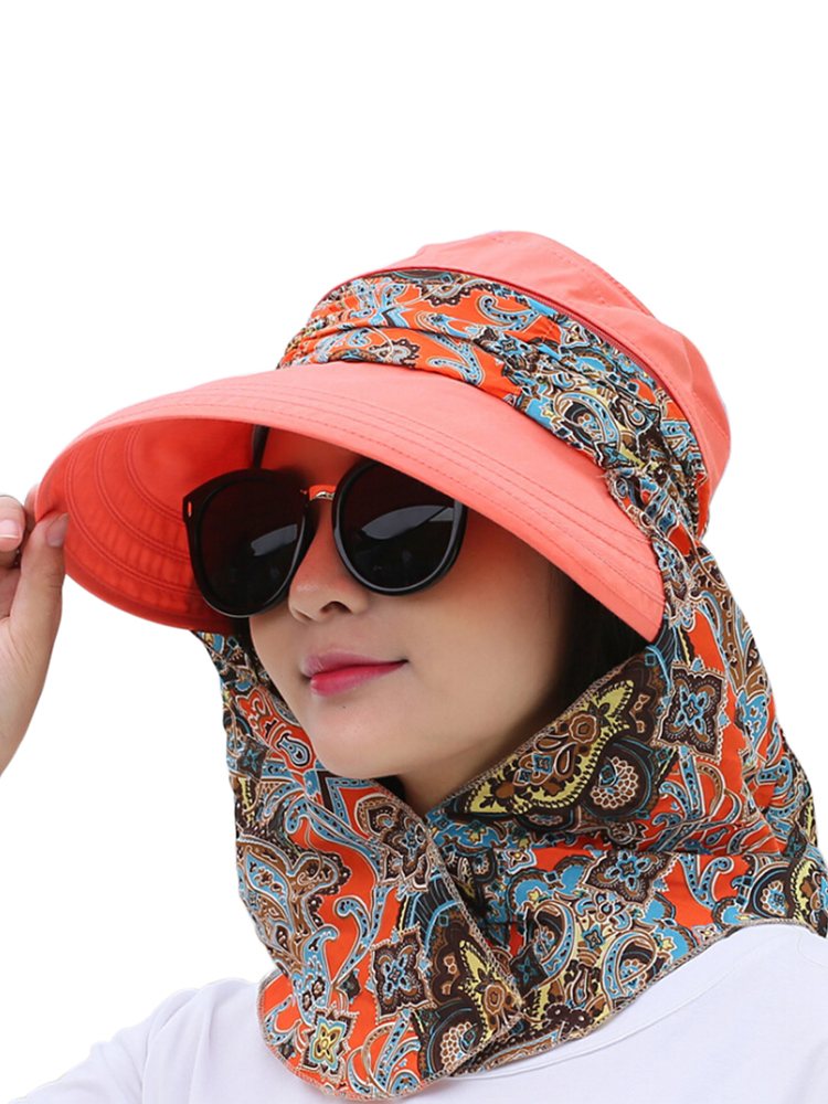 Fashion Women Summer Outdoor Riding Anti-UV Sun Hat Beach Foldable Sunscreen Floral Print Caps Neck Face Wide Brim Hat