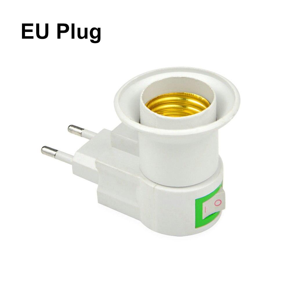 E27 светодиодный светильник лампа база Патрон для ЕС/США Тип переходник конвертер с кнопкой ВКЛ/ВЫКЛ для светодиодный лампы - Цвет: E27 to EU Plug