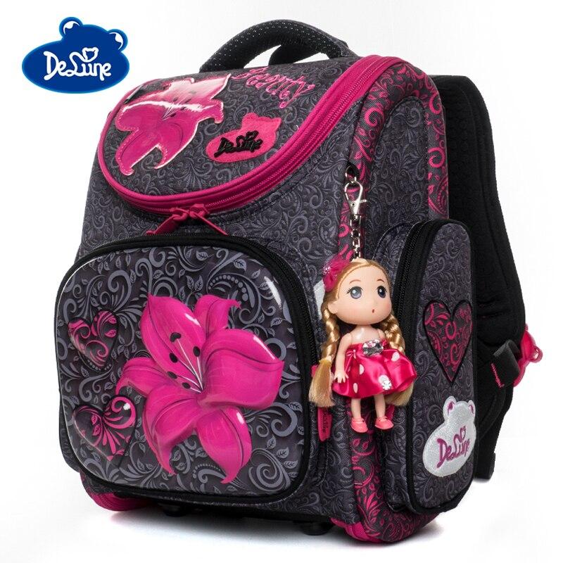 Delune Cartoon School Bags Backpack For Girls Boys Bookbag Flower Pattern Children Orthopedic Backpack Mochila Infantil Grade 3