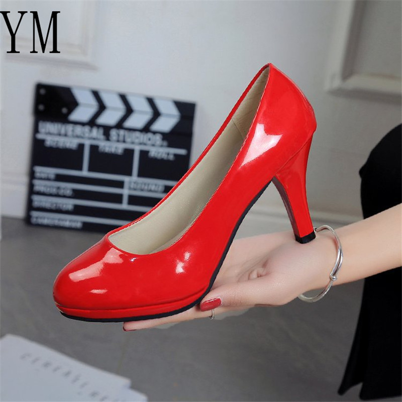 Sexy Bride The New Women Pumps Fashion Classic Patent Leather 8CM High Heels Shoes Sharp Head 4 Coolour Paltform Wedding Plus 42