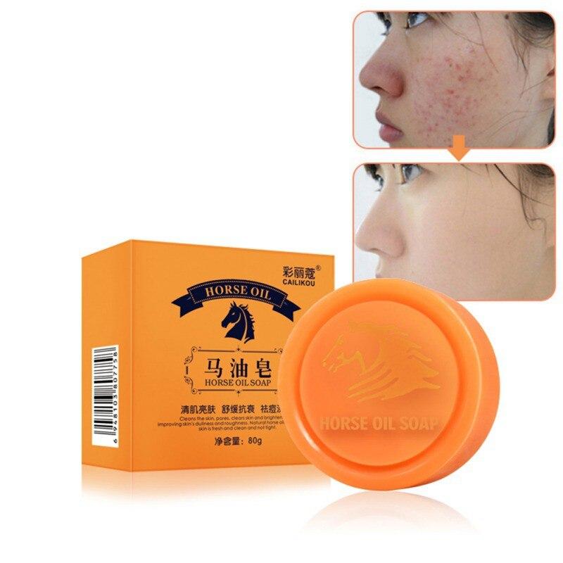 Horse Oil Soap Oil-control Moisturizing Anti-mites Brighten Skin Color Horse Oil Essential Oil Soap