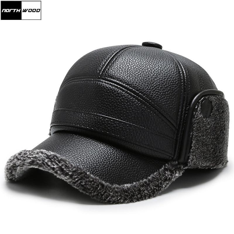 [NORTHWOOD] 2020 черные пу кожаные зимние шапки Snapback наушники бейсболка для мужчин на открытом воздухе плюс бархат утолщение мужские шапки и шляпы размер 58 см|Мужские бейсболки|   | АлиЭкспресс