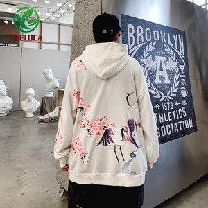 Image 4 - 2019 Dropshipping Chinese Wind Crane Flower Print Male Female Retro Autumn Winter Hoodie Sweatshirt Hip Hop Loose Couple Hoodie