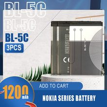 3 sztuk 1200mAh baterii BL-5C BL5C BL 5C Li-ion baterie litowe dla Nokia 2280 2300 2600 2610 3100 3105 3120 wymiana komórek