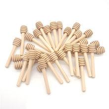 100 pçs/lote 8cm alça longa barra de agitação mel madeira prática mistura vara jar colher suprimentos para café leite chá cozinha ferramenta