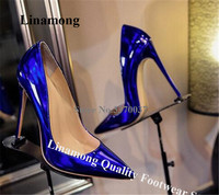 Linamong Women Charming Fluorescent 12cm Stiletto Heel Pumps Pointed Toe Patent Leather Blue Purpler High Heels Wedding Shoes