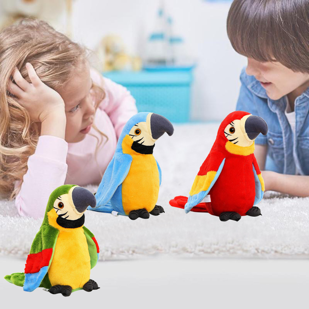 Cute Talking Parrot Toy Plush Toy Parrot Bird Electric Recording Repeating Language Movement Fan Winged Children Baby Toy Gift