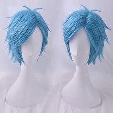 Fashion Blue short hair wig Cosplay Adult Halloween synthetic hair anime role-playing club Yarichin Bitch Bu hair