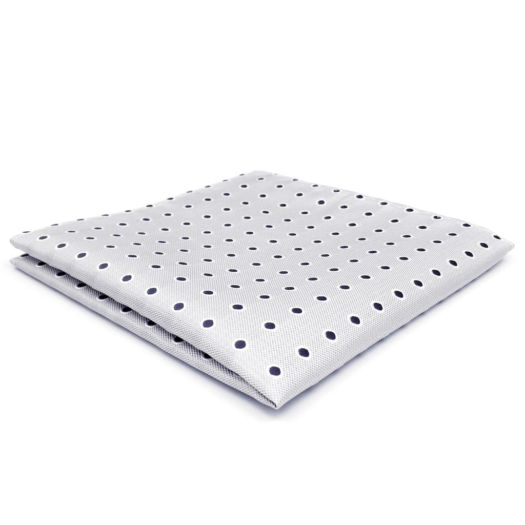 AH21 Light Gray Dots Mens Pocket Square Silk Fashion Hanky Classic Handkerchief