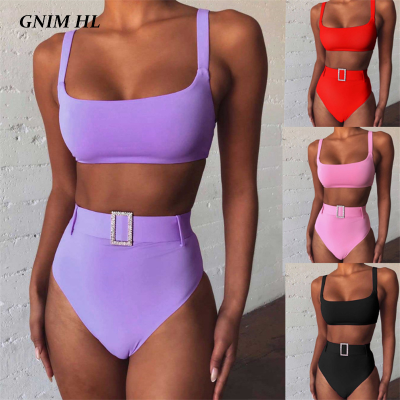 GNIM High Waist Bandeau Bikini Swimwear Women Push Up 2020 Sexy Backless Solid Brazilian Swimsuit With Belt Summer Bathing Suit