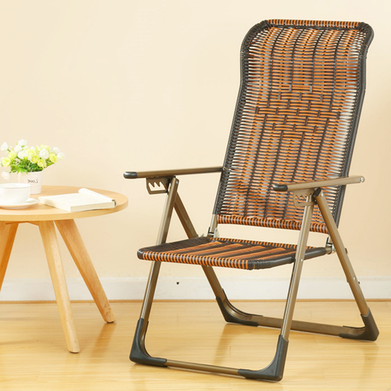 Outdoor Rattan Recliner Folding Chair Balcony Siesta Chair Three Fold Wicker Chair Pregnant Women Back Chair Lazy Beach Chair