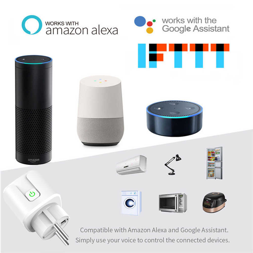 Enchufe Wifi inteligente Mini estándar 10A/16A EU con toma de corriente para Monitor funciona con Google Home, alexa IFTTT Control de voz