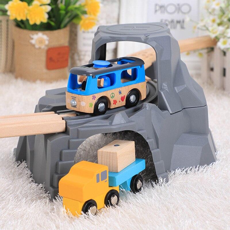 Большой пластиковый двойной туннель для деревянной железной дороги, игрушечный поезд для детей, малышей, мальчиков и девочек, совместим со всеми основными брендами