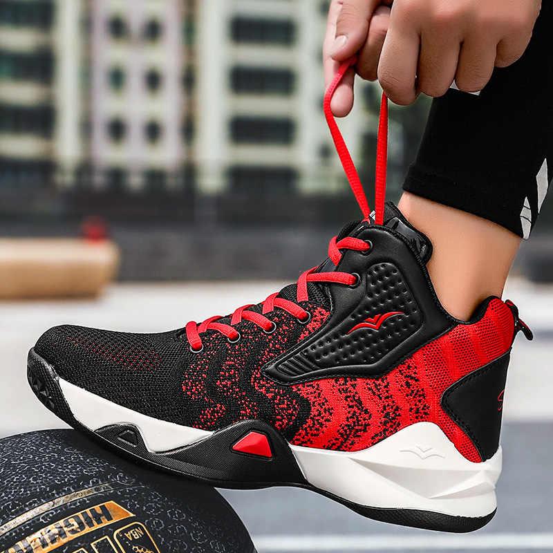 รองเท้าบาสเก็ตบอลMen Air Cushionบาสเกตบอลรองเท้าผ้าใบAnti-Skidสูงด้านบนชายรองเท้าBreathableรองเท้าบาสเกตบอลสาวJordanรองเท้า