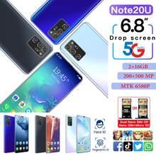 Melhor smartphone rugum nota 20u 6.8 Polegada tela hd telefone inteligente android 6.0 2gb ram 16gb rom desbloqueado duplo sim telefones celulares presente