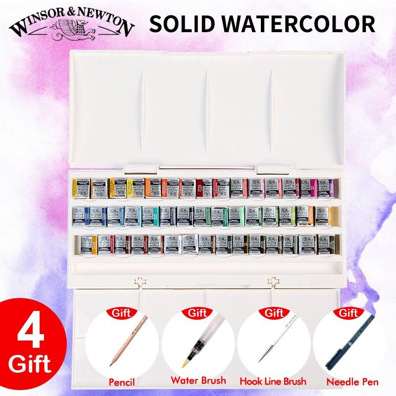 Set de peinture aquarelle solide professionnelle 12/16/24/45 couleurs demi casseroles Pigment de couleur de l'eau ensemble pour dessin artiste Art fournitures