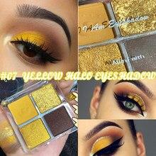 4 cores Amarelo Pigmentado Sombra Glitter Maquiagem Sombra Paleta de Brilho Nu Paleta Da Sombra de Olho Maquiagem Paleta
