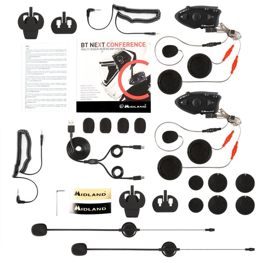 MIDLAND 1600M Motorcycle Helmet Intercom Microphone Helmet Paired BT NEXT Headset Water-resistant Interphone Black