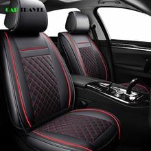 (Voor + Achter) luxe Lederen Auto Seat Cover 4 Seizoen Voor Peugeot 205 206 207 2008 3008 301 306 307 308 405 406 407 Auto