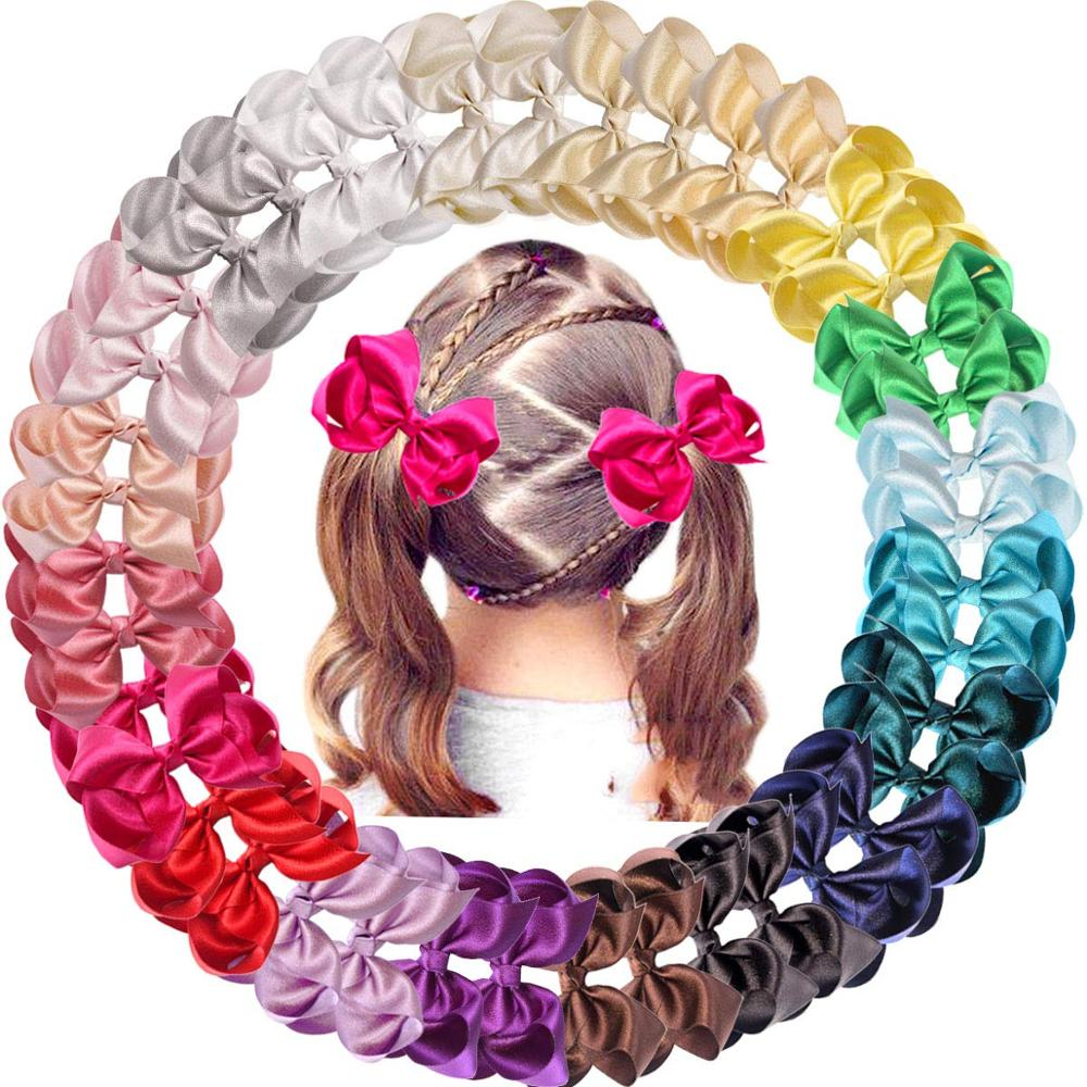 40 Pcs 4.5 Inch Glitter Grosgrain Ribbon Shiny Hair Bows Alligator Hair Clips For Girls Infants Toddlers Kids In Pairs