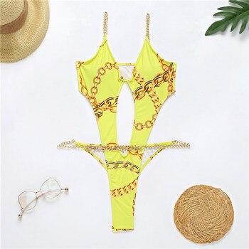 Brazilian One Piece Swimsuit String Monokini Sexy Neon High Cut Bikini Bandeau Swimwear Ring Chain Bodysuits Swimming Suit 8
