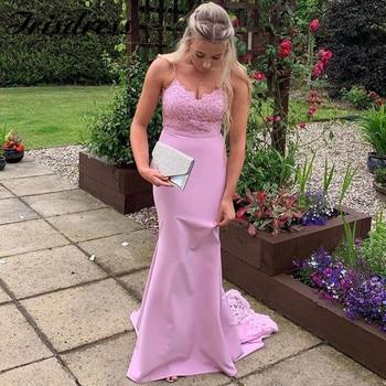 Pink Mermaid Bridesmaid Dresses Long 2020 Applique Lace African Maid Of Honor Dress Formal Backless Vestidos de fiesta de noche