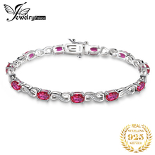 JewelryPalace Love Infinity 6.8ct Oval Created Ruby Tennis Bracelet 925 Sterling Silver Fashion Wedding Jewelry For Women Gift